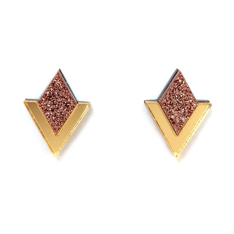 Diamond Segment Stud Earrings in Gold and Rose Glitter Acrylic