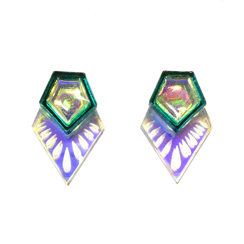 Super Shiny Etched Pentagon Stud Earrings in Teal and Iridescent