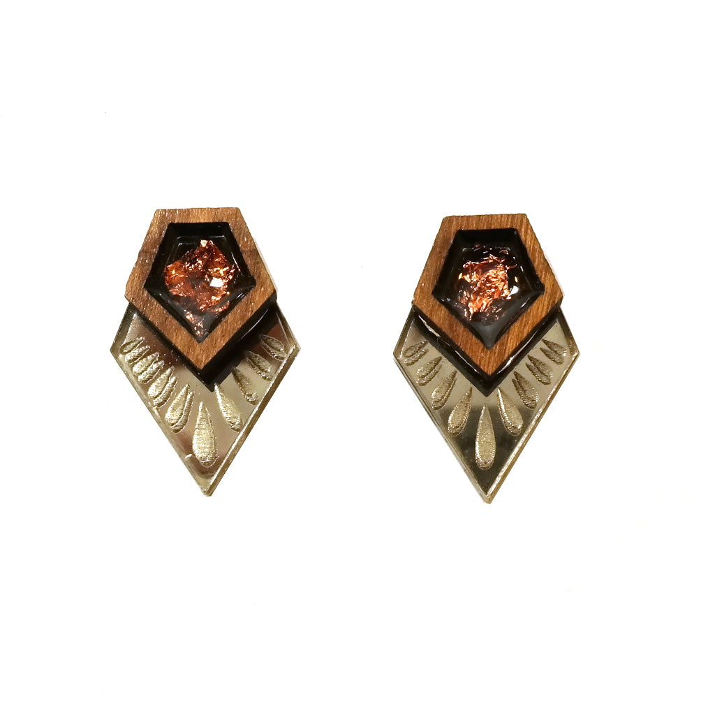 Beautiful Etched Pentagon Stud Earrings in Wood, Bronze and Copper