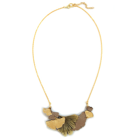 Ginkgo Leaf Small Bib Necklace in Gold and Chamomile Coloured Acrylic