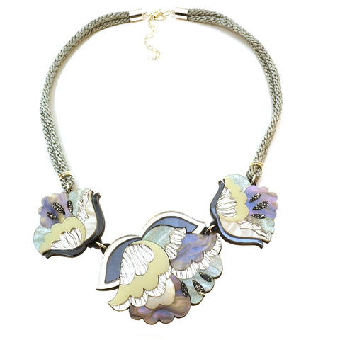 Nouveau Large Flower Necklace in Ice Blue and Mother Of Pearl
