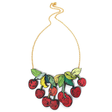 Rosita Bonita Leather Cherry Necklace Full Size