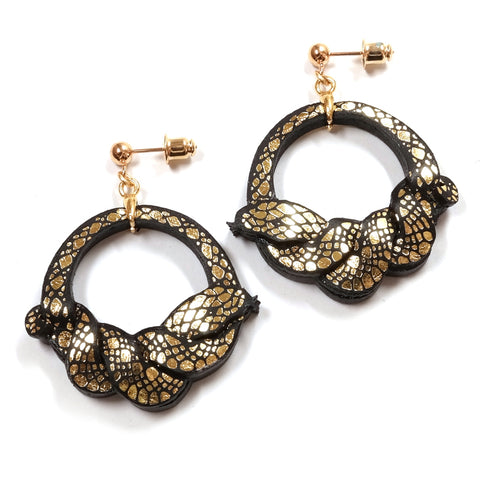 Rosita Bonita Ouroboros Hoop Earrings - black and gold snake design
