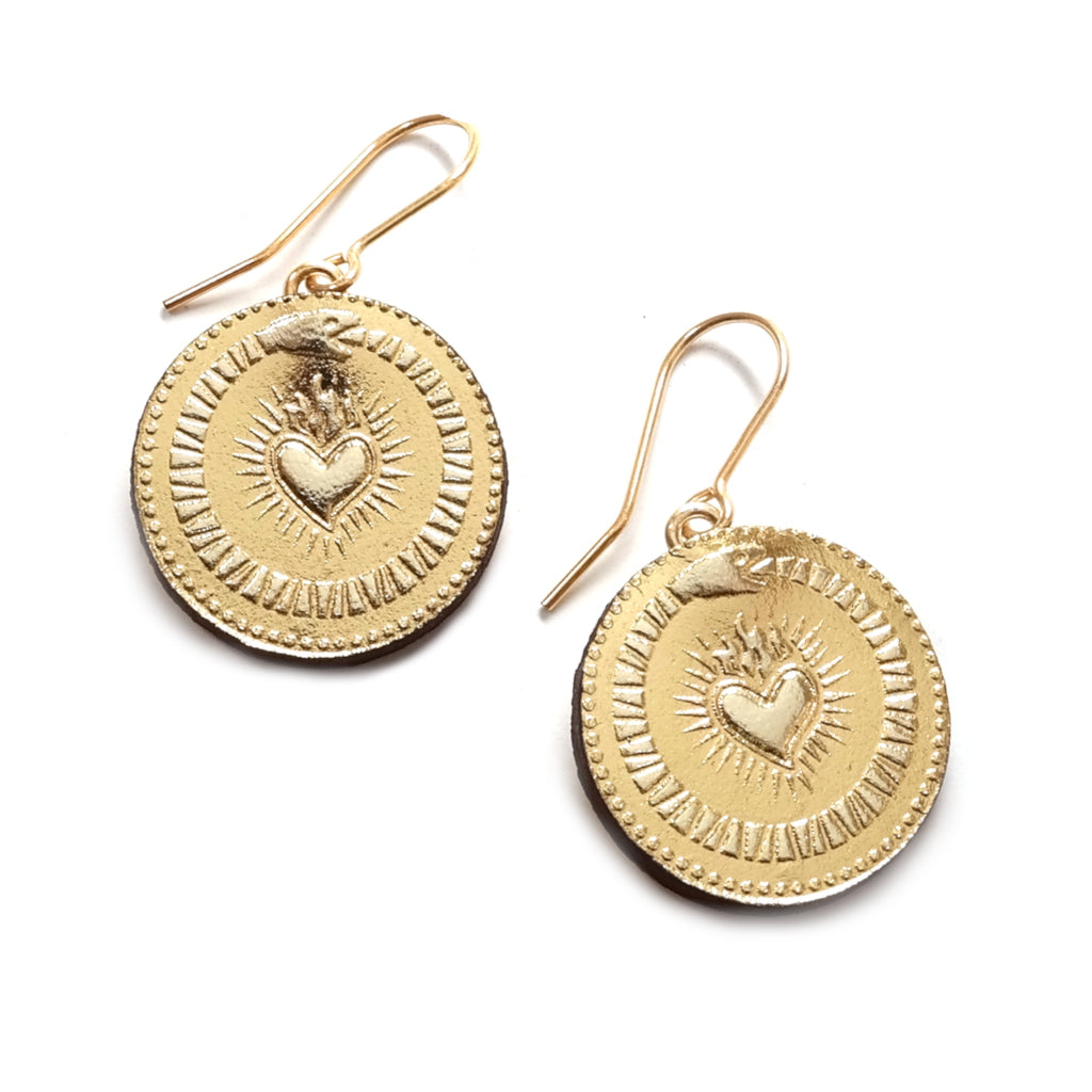 Gold Foil Rosita Bonita Ouroboros Lucky Coin Earrings