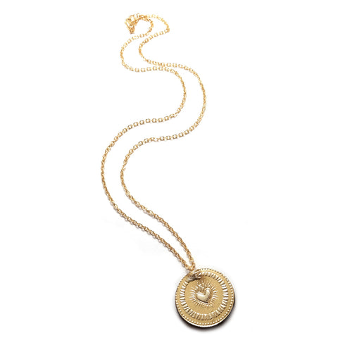 Gold Foil Ouroboros Lucky Coin Earrings Leather and Gold Plated Necklace
