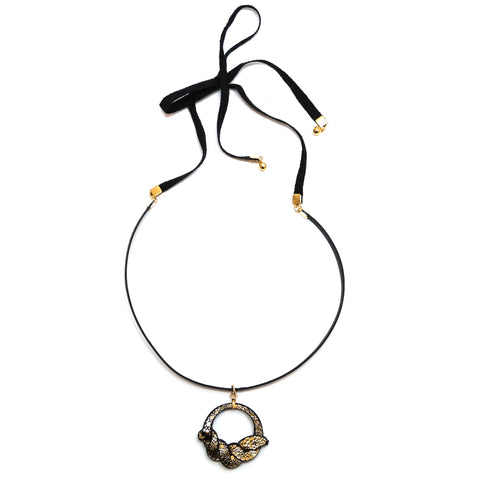 Rosita Bonita Ouroboros Leather Ring Snake Choker in Black