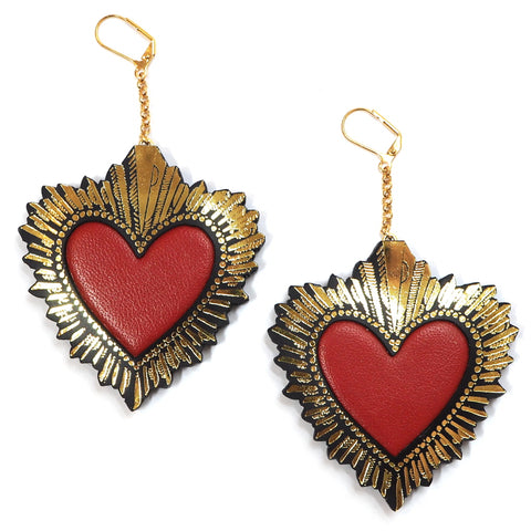 Rosita Bonita Red and Gold Leather Statement Sacred Heart Earrings