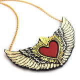 Winged Sacred Heart Necklace Close Up