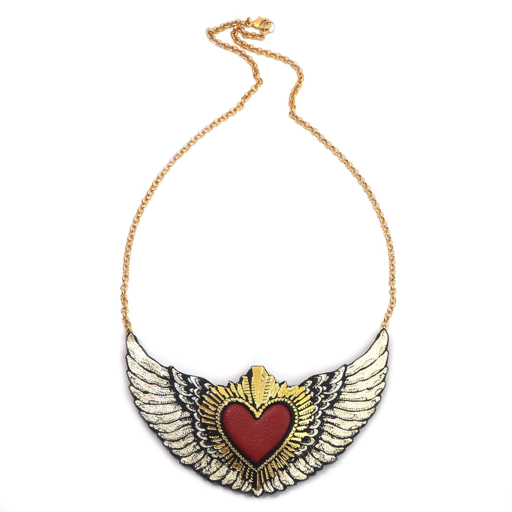 Rosita Bonita Red and Gold Winged Heart Statement Necklace