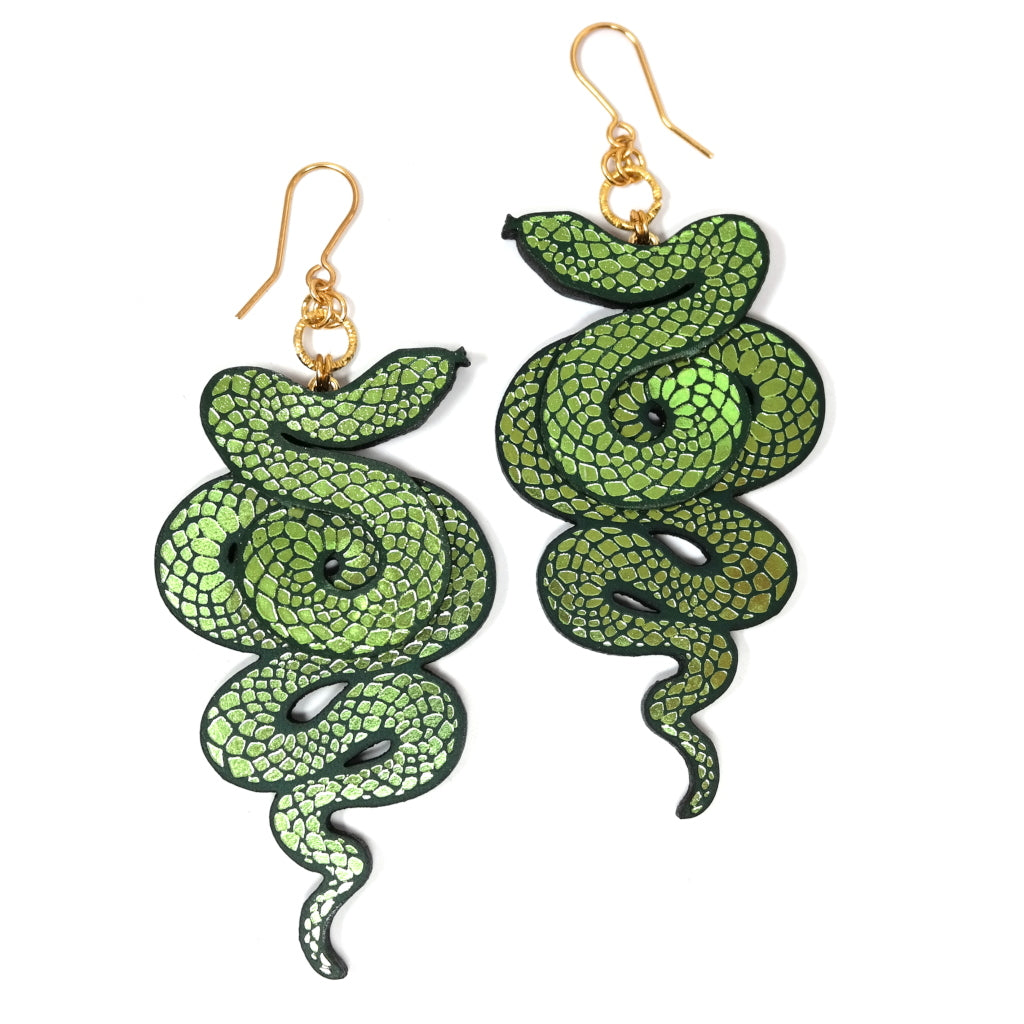 Rosita Bonita Serpent Earrings in Black and Green Leather