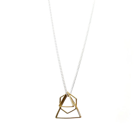 Brass Triangle and Hexagon Necklace