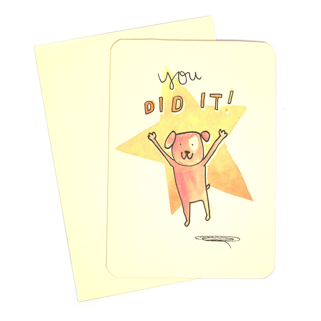 You Did It Dog Cheering Card