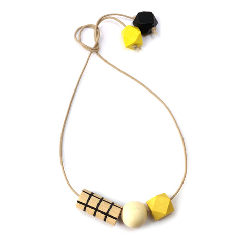 Geometric Wooden Bead Grid Necklace in Yellow and Black