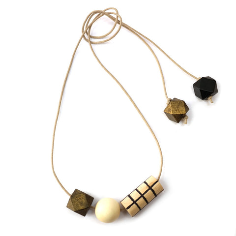 Grid Necklace in Gold and Black