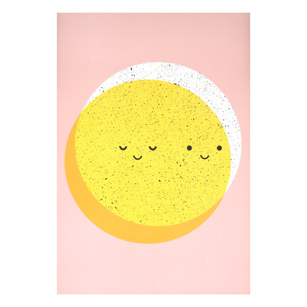 Unframed sun and moon yellow and white on pink background by Scout Editions