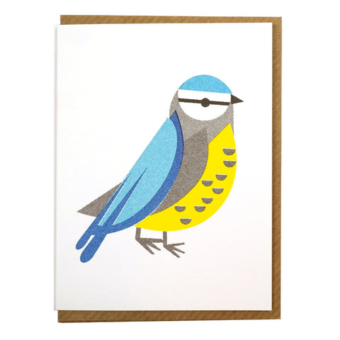 illustrated abstract blue tit mini greetings card blank inside