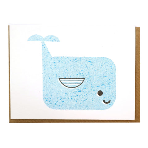 cute illustrated blue whale mini greetings card blank inside