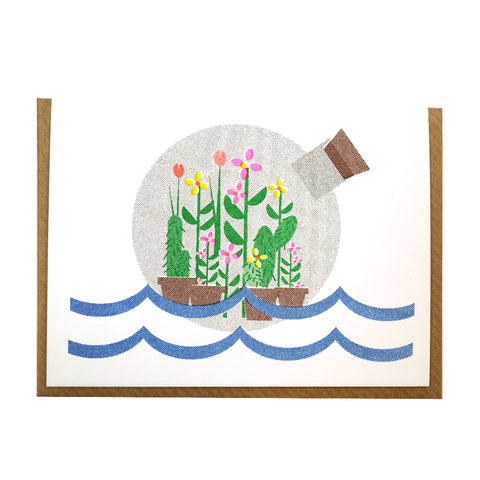 botanical illustrated garden in a bottle mini greetings card blank inside