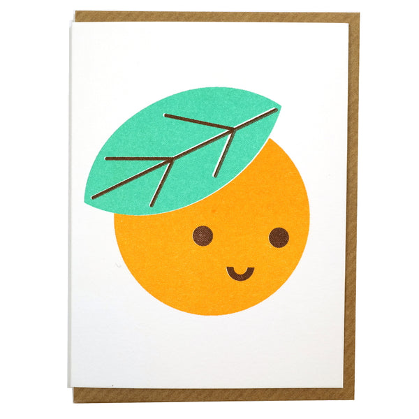cute clementine orange mini greetings card blank inside