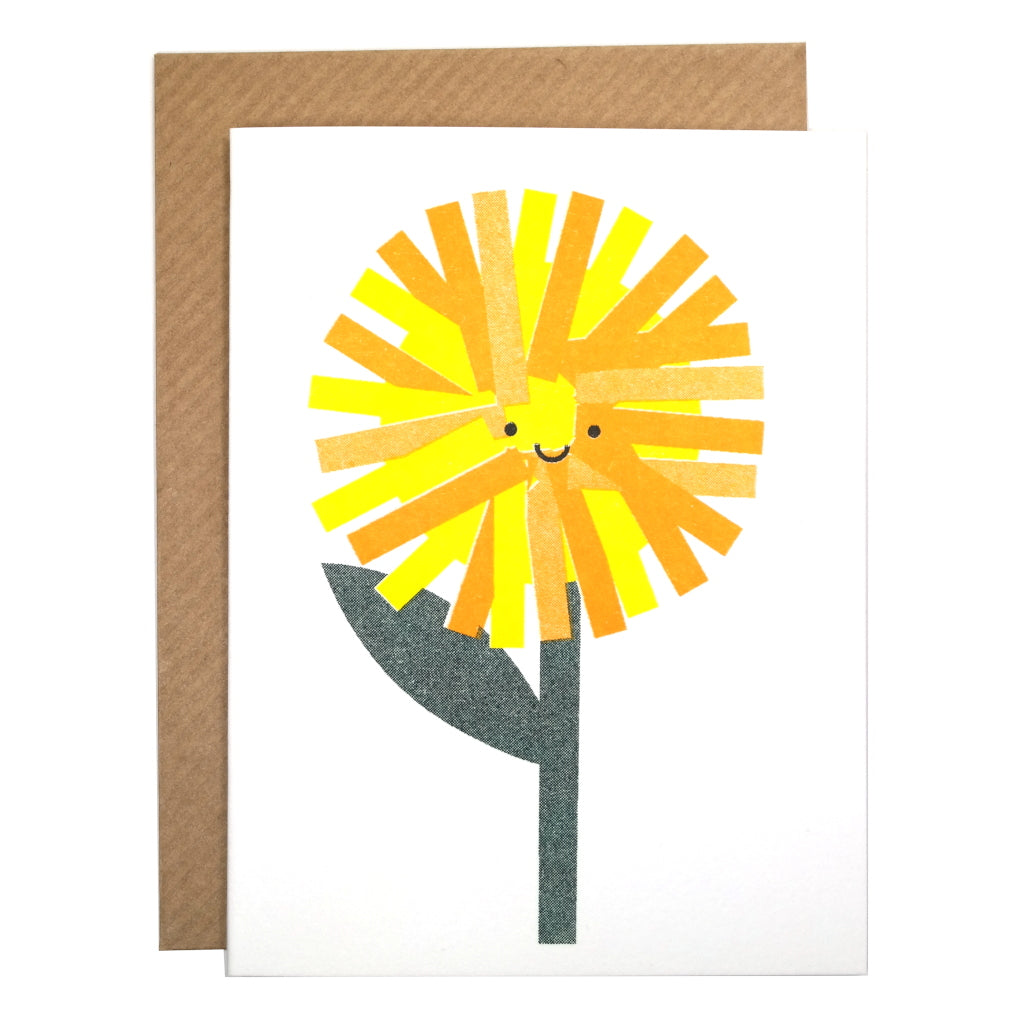 cute dandelion illustrated mini card with envelope