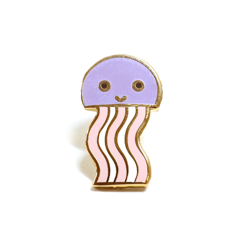cute happy pink and purple jellyfish enamel metal pin brooch