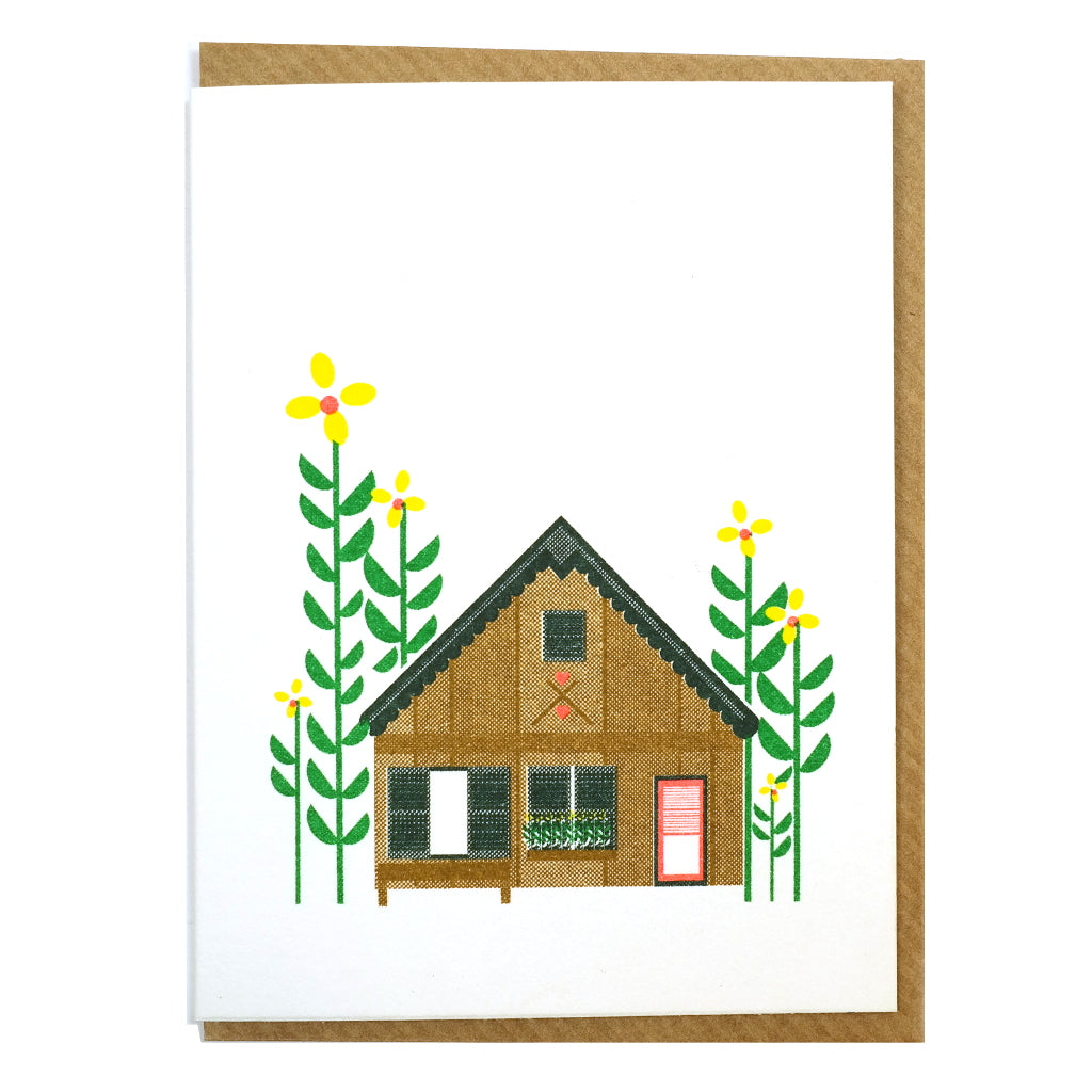 illustrated log cabin in the woods mini greetings card blank inside