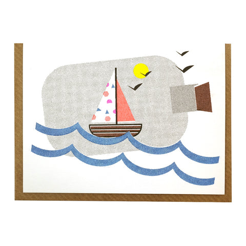 sailboat in a bottle illustrated greetings card blank inside