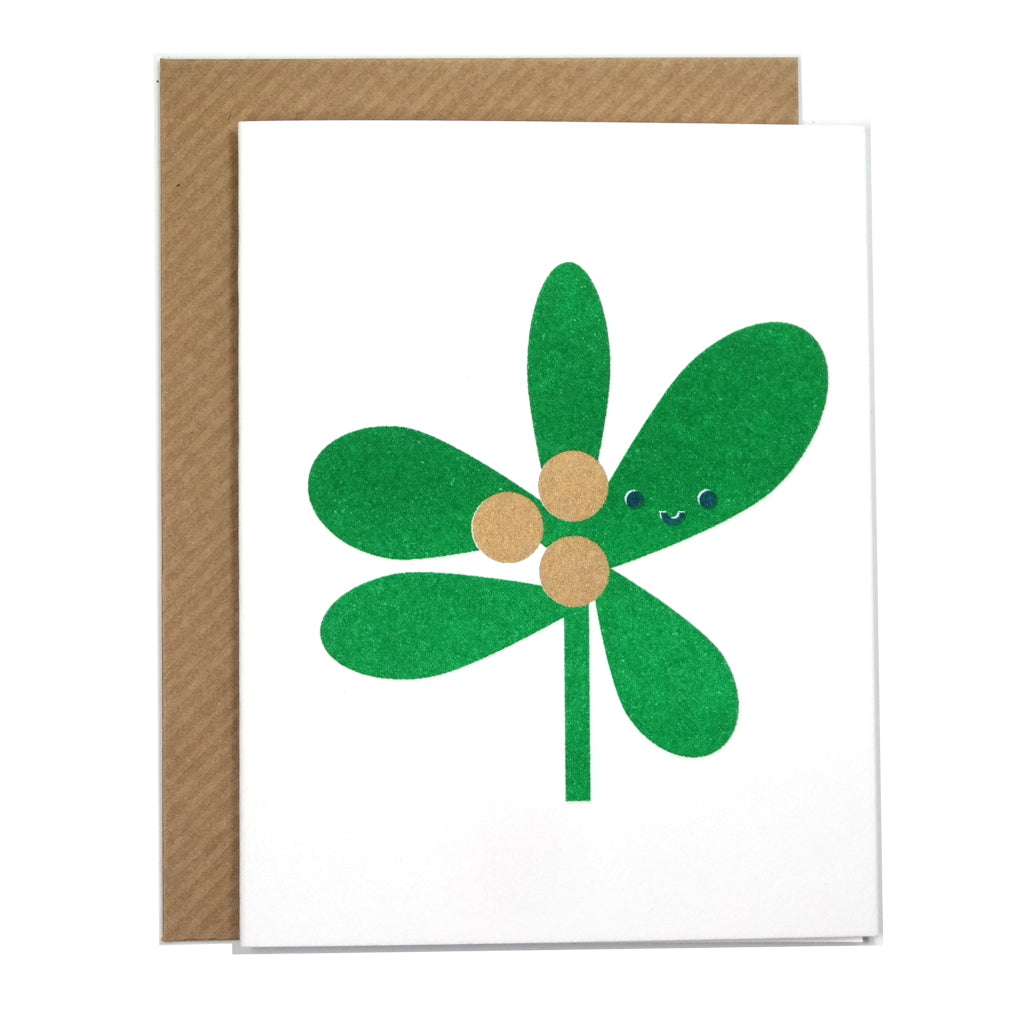 cute mistletoe illustrated christmas card with envelope