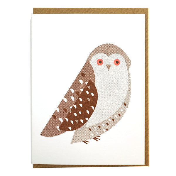 illustrated abstract brown owl mini greetings card blank inside