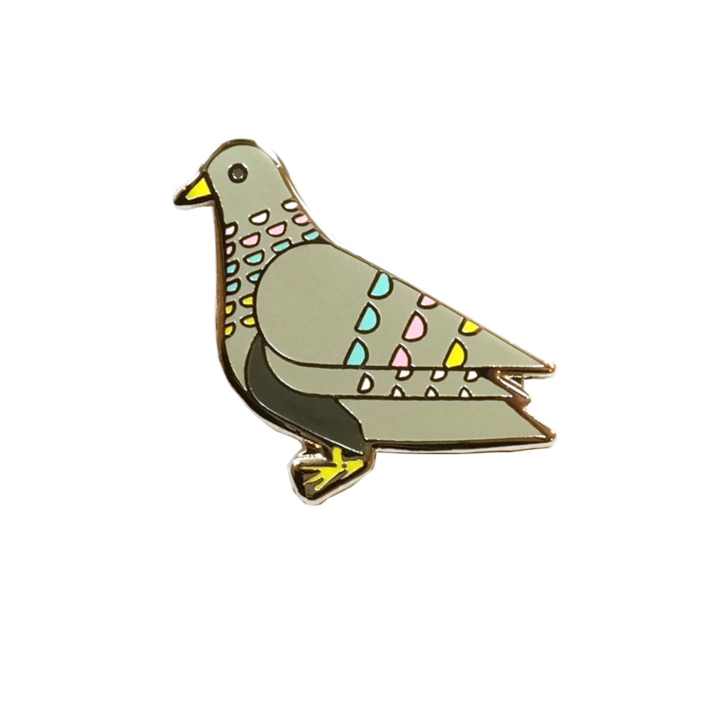 Grey Pigeon enamel metal pin brooch badge
