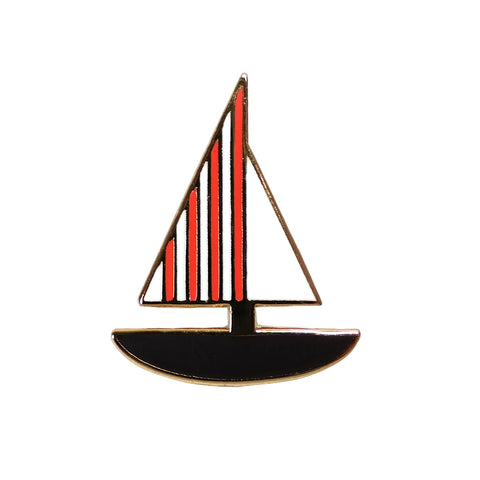 red and white stripe sail boat enamel metal pin brooch