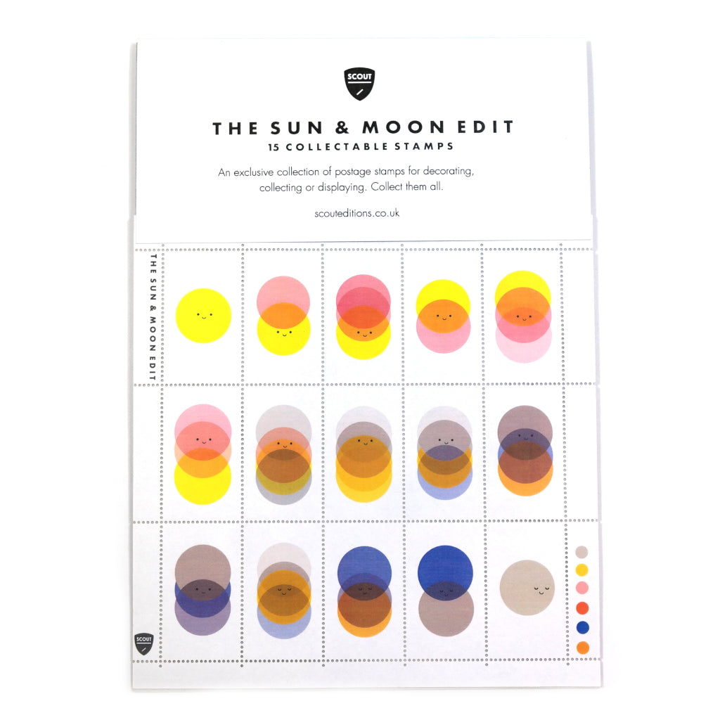 sun and moon illustrated collectable stamp set in packaging