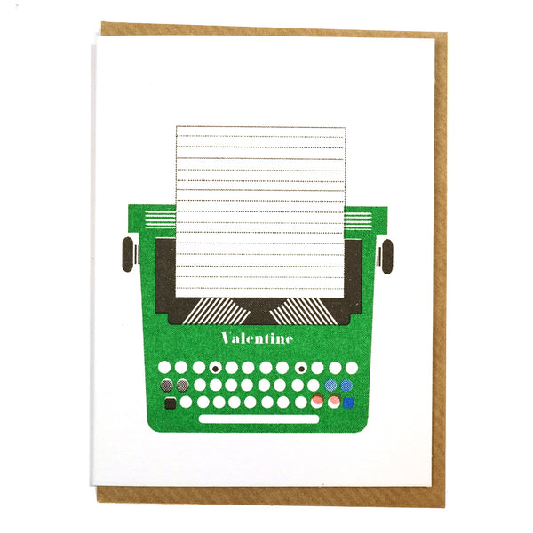 Olivetti 1960s Valentine typewriter illustrated greetings card blank inside
