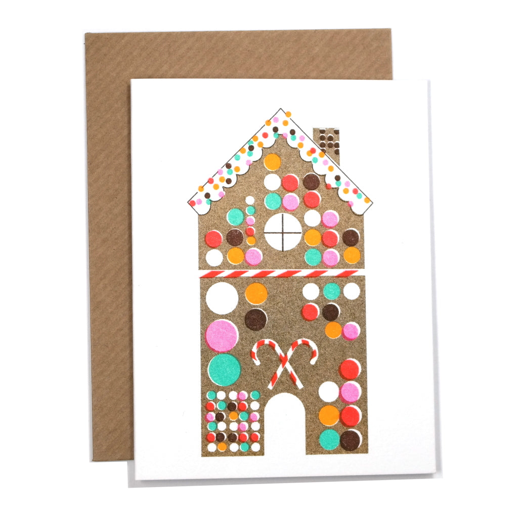 Gingerbread House Christmas Mini Greetings Card with Envelope