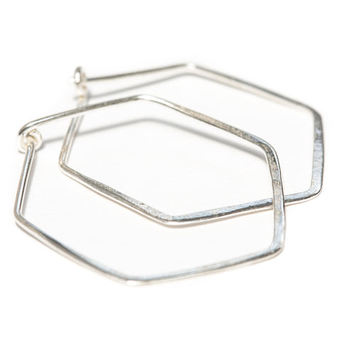 Silver Hexagon Hoop Earrings by One + Eight