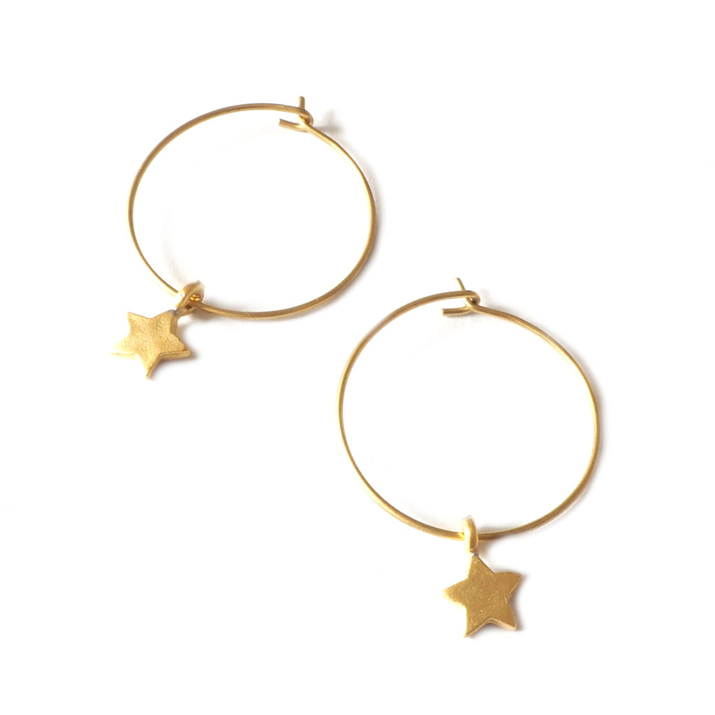 Gold Hoop Earrings with Small Star Dangles
