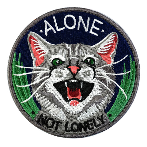 Alone Not Lonely Fierce Cat Embroidered Iron On Patch
