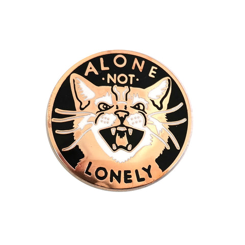 Alone Not Lonely Cat Enamel Pin Brooch