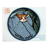 Kitty Cat In Bed Natural Habitat Iron On Embroidered Patch On Display Card