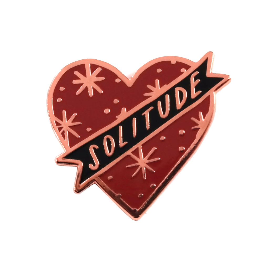 Solitude Heart Banner Enamel Pin in Red