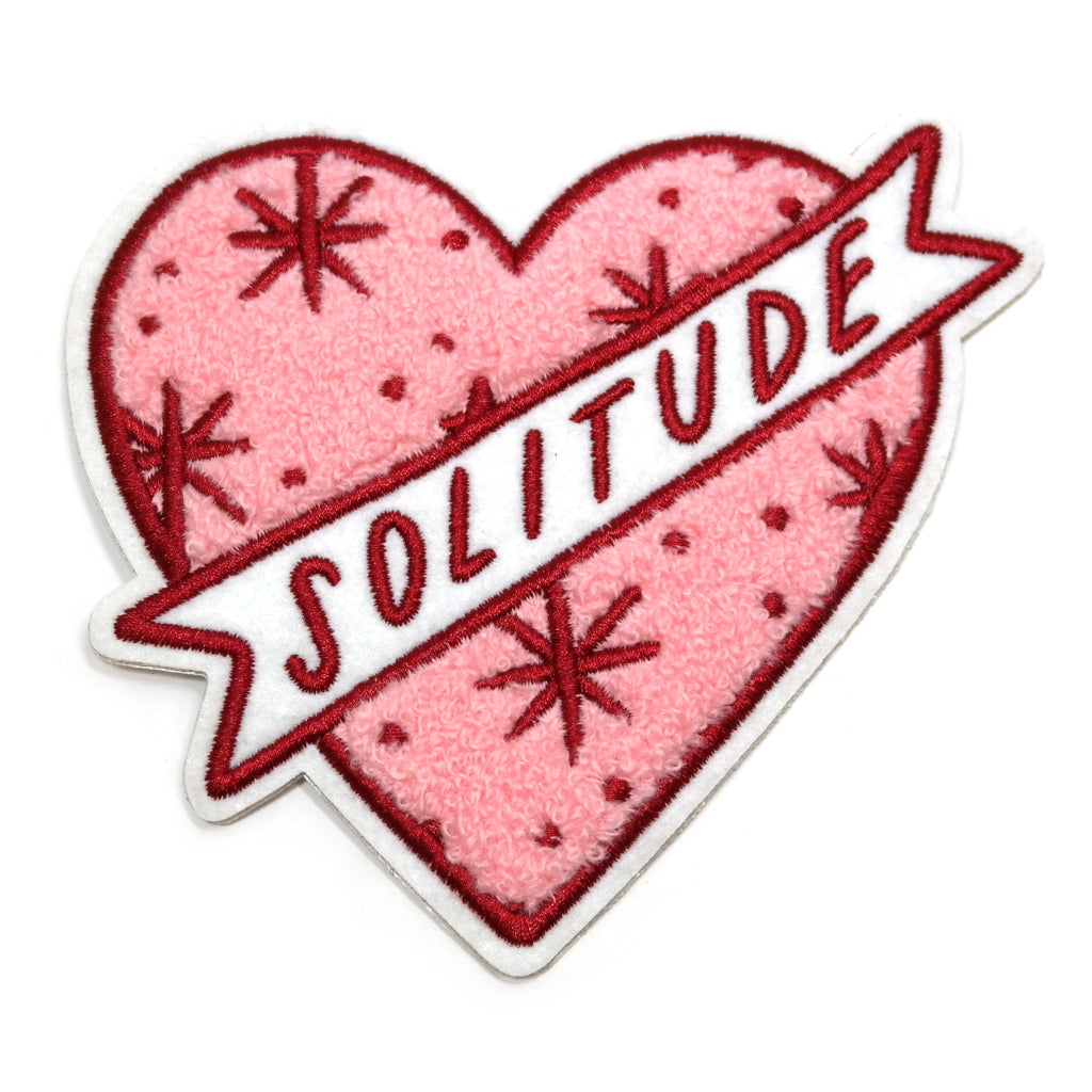 Solitude Chenille Heart Pink Iron On Patch Main Image