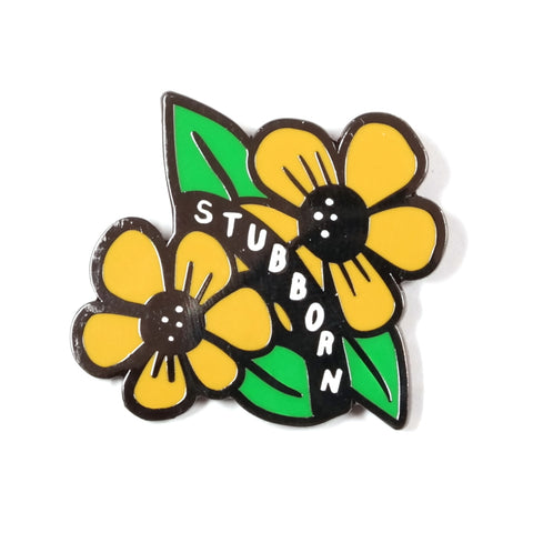 Stubborn Yellow Flower Weed Enamel Pin Badge