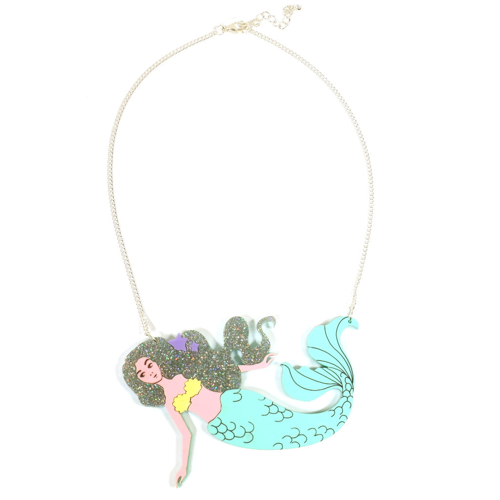 Mermaid Acrylic Perspex Statement Necklace in Holographic Glitter