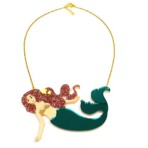 Cute Mermaid Acrylic Perspex Statement Necklace in Pink Glitter