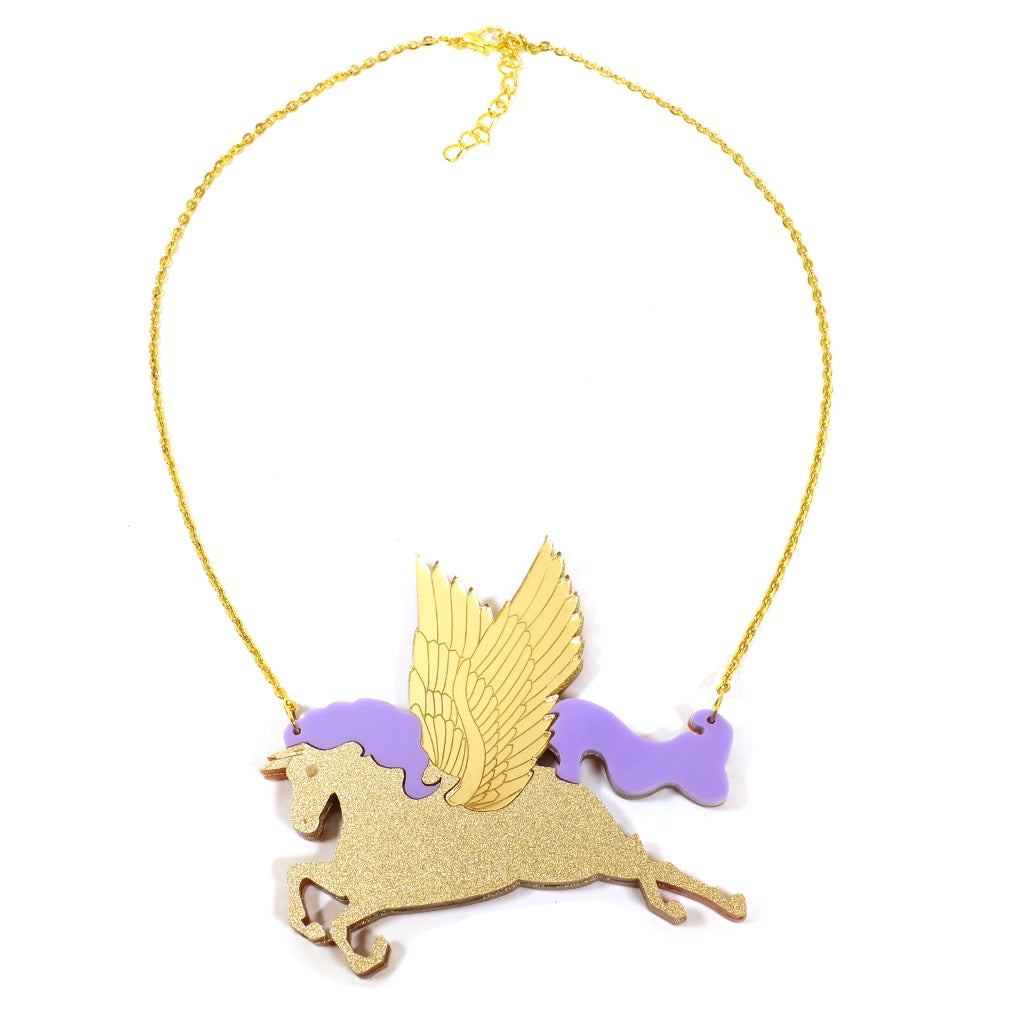Winged Horse Acrylic Pegasus Statement Necklace in Gold
