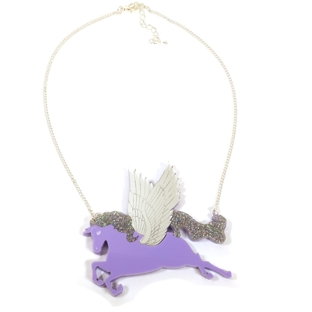Pegasus Winged Flying Horse Statement Acrylic Necklace in Purple Lilac