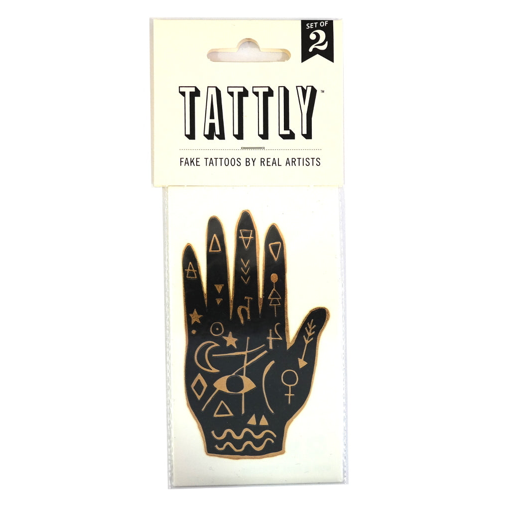 Mystic Hand Wicca Eye Black and Gold Temporary Tattoo