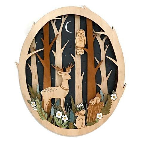 Midnight Forest Owl Deer Woodland Animal Layered Wall Art