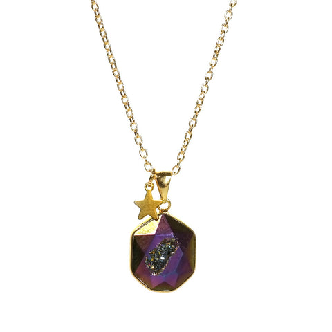 Dark Purple with Star Charm Venture Quartz Druzy Necklace by Eclectic Eccentricity