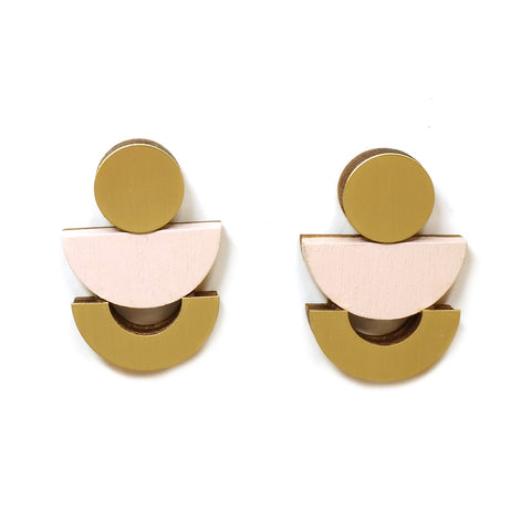 wooden and brass Luna Statement Stud Earrings